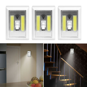 3x Cordless Cob Led Switch Night Light Battery Powered For Closet