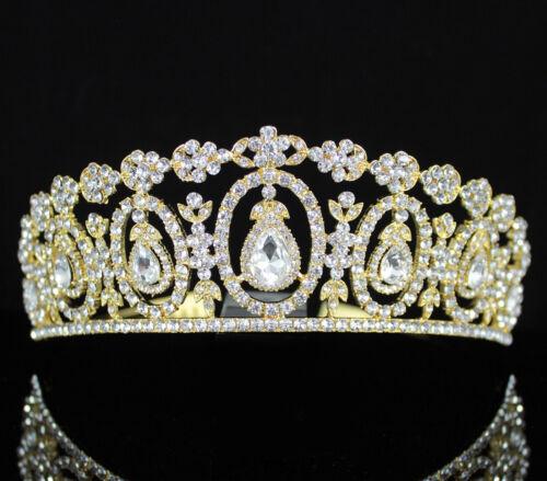 Daisy Floral Austrian Crystal Rhinestone Tiara Crown W// Hair Comb T2312C Gold