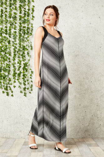 Roman Originals Womens Black Monochrome Chevron Maxi Dress Sizes 10-20