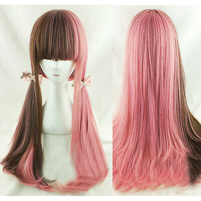Ladys Fashion Lolita Wig Brown Pink Ombre Hair Cosplay Party Long Wavy Curly Wig