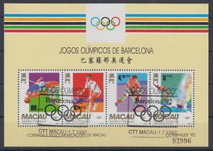 MACAU-Michel-Nr-Block-19-gestempelt-o-Olympische-Spiele-Olympics-1992