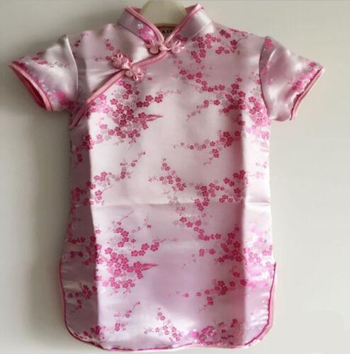 NEW Kids Girl Chinese Traditional QIPAO Costume Tunic Short Sleeve cheong Dress