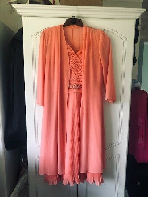 Coral Designer Dress with Matching Jacket and Fascinator
