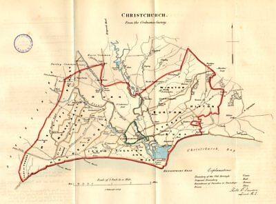 Christchurch Town/borough Plan Reform Act Mudeford Dorset Dawson 1832 Map Meticulous Dyeing Processes