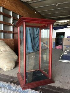 Sc1 Antique Wood And Glass Showcase Display Case Ebay