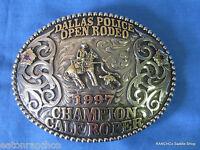 Mortenson Silver Custom Rodeo Trophy Belt Buckle Rubies Awards Buckle Calf Roper
