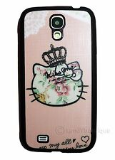 Cute Hello Kitty Vintage Floral Soft Case For Samsung Galaxy S4 Pink & Black