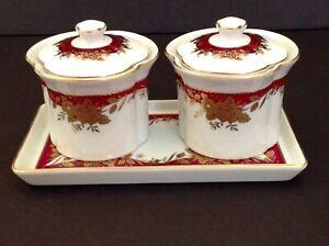 Vintage-Japanese-Porcelain-Tea-Cup-w-Lid-2-Set-with-Tea-Tray-Gold-Trim