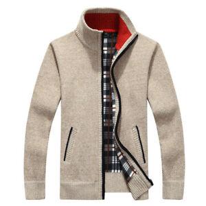 Thicken-Zipper-Knitwear-Coat-Men-039-s-Casual-Sweater-Jacket-Winter-Warm-Outwear