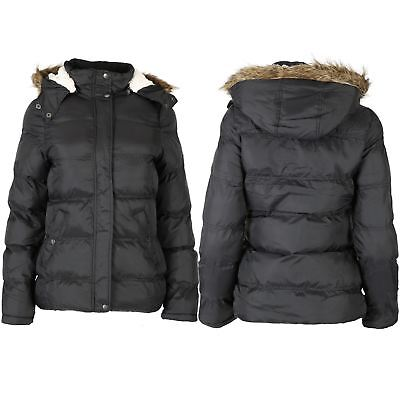 Womens Ladies Zip Up Quilted Padded Faux Fur Hooded Pockets Coat Parka Jacket Modische Muster