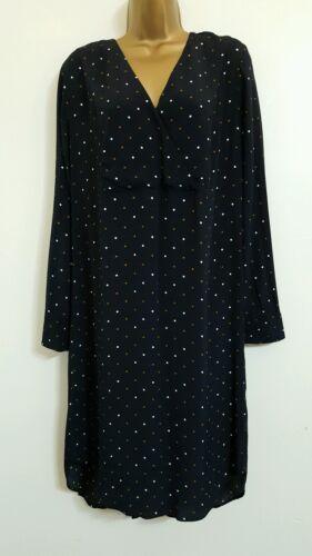 Nouveau m/&s autographe 8-22 polka dot à pois noir shift robe