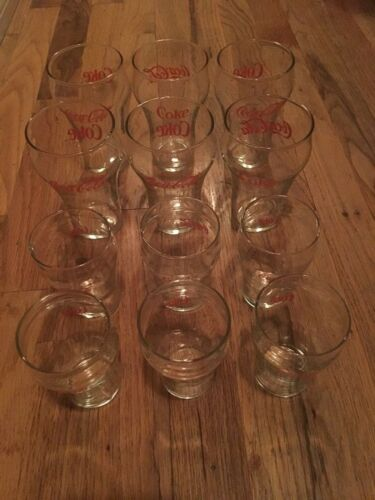 Lot Of 12 Vintage Coca Cola USA Restaurant Style Bell Soda Glasses, Tall & Small