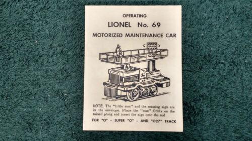 LIONEL # 69 MOTORIZED MAINTENANCE CAR INSTRUCTIONS PHOTOCOPY