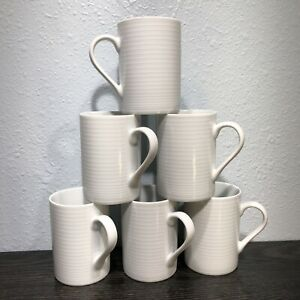 John Lewis White Stripped Porcelain 10oz Latte / Coffee Mugs Set of 6