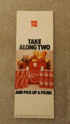 Vintage Coca Cola Bottle Hang Tag Tab Take Two Pick Up A Picnic Bag 1979