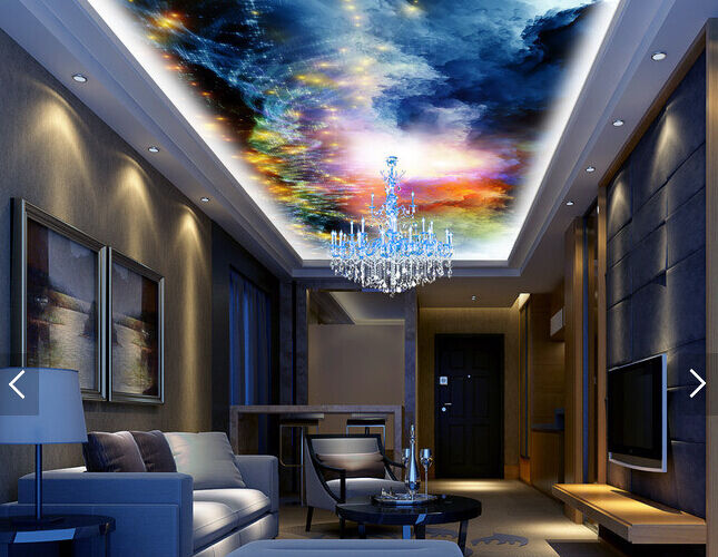 3D golden Star Sky 8 Ceiling WallPaper Murals Wall Print Decal Deco AJ WALLPAPER