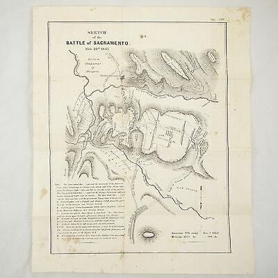 1847 BATTLE PLAN USA MAP BATTLE OF SACRAMENTO MEXICAN-AMERICAN WAR CALIFORNIA