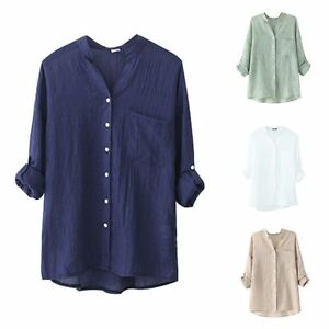 Women-Loose-Cotton-Linen-Blouse-Long-Sleeve-Tops-Casual-Sheer-Button-Down-Shirt