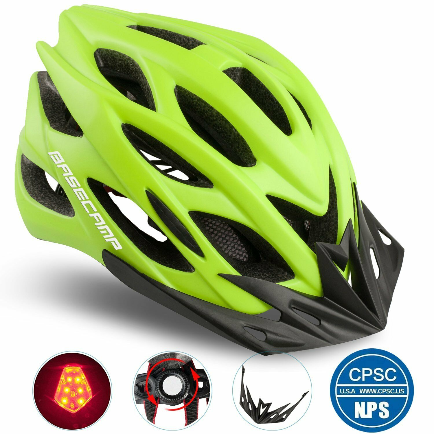 Basecamp Specialized Bike Helmet with Safety LightAdjustable Sport Cycling He...