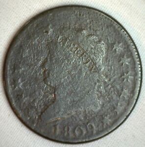 1809-Classic-Head-Copper-Large-Cent-Early-Penny-Type-Coin-Variety-Circulated-1c