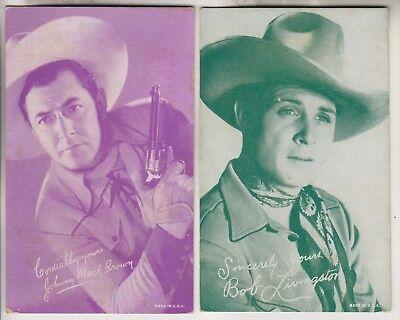 100% Kwaliteit 2 Vintage Arcade/exhibit Cards - Cowboy - Johnny Mack Brown & Bob Livingston