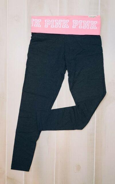 f59d7df5a8 Victoria's Secret PINK Yoga Pants Leggings Gray Neon Orange Logo M Medium  NWT VS