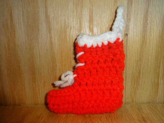 Vintage Small Red Crochet Knit Christmas Stocking Tree Ornament 3