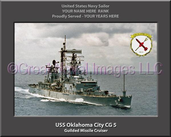 USS Oklahoma City CG 5 Personalized Canvas Ship Photo Print Navy Veteran Gift
