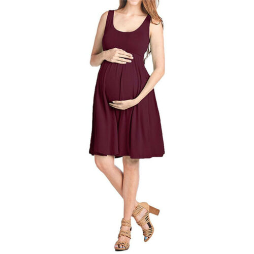 Pregnant Women Maternity Cotton Solid T-Shirt Short Dress Casual Side Tie Summer