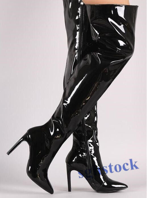 Donna Over Knee Knee Knee High Shoes Pointy Toe Stiletto Pull On Patent Pelle Nightclub f33a2d