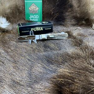 2012-Puma-210111-Jagdtaschenmesser-I-Hunting-Knife-With-Stag-Handles-Mint-Box-A1