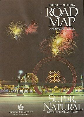 1986 Expo86 BRITISH COLUMBIA Official Highway Road Map Canada Vancouver Victoria