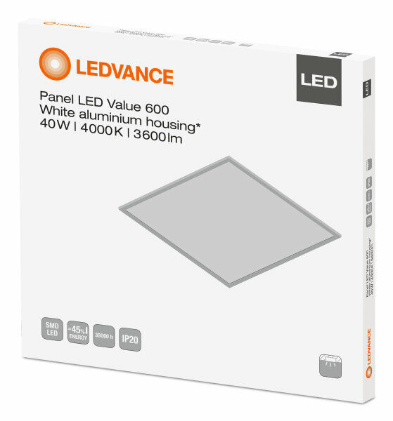 5 x Ledvance Panello LED 40W 600 x 600 6500K luce del giorno