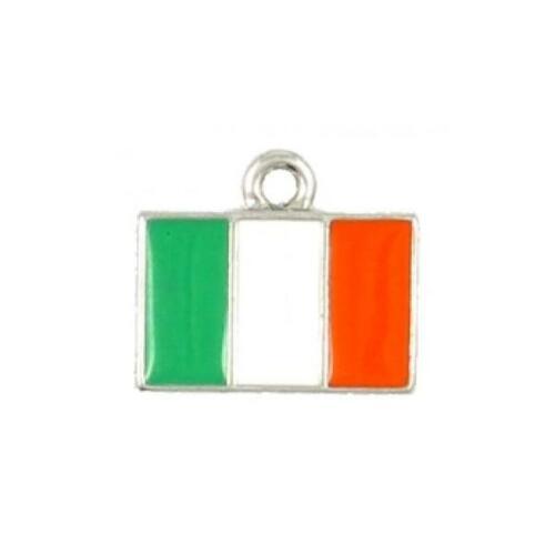 15mmx13mmx2mm IRISH FLAG EPOXY ENAMELED FINE PEWTER CHARM PENDANT