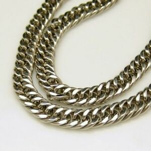 MONET-Vintage-Chunky-Statement-Necklace-Thick-Silvertone-Cable-Chain-Extender