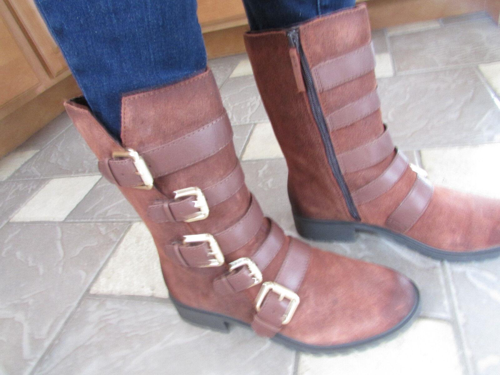 Felices compras Nuevo Naya darryn Cuero Mid Botines botas Para Mujer 8.5 8.5 8.5 marrón cognac C   Hebillas  envío rápido en todo el mundo