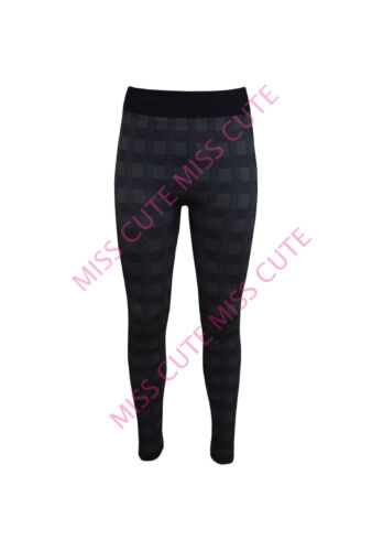 WOMENS LADIES STRETCH WINTER THERMAL LEGGINGS FLEECE LINED CHECK PRINT JEGGINGS