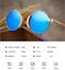 AZB Handmade Unisex Plate Imitate Wood Polarized Sunglasses Round Retro Glasses