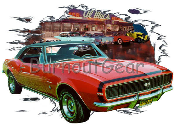 1967 ROT Chevy Camaro a Custom Hot Rod Diner T-Shirt 67 Muscle Car Tee's