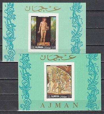 Ajman, Mi Cat. 287-288, Bl42-43. Adam & Eve S / Blätter. Geprägt Perfs