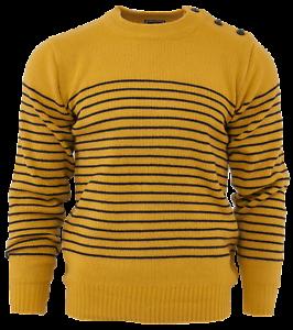 Relco-Herren-Mod-gestreift-Marine-senffarben-gelb-Guernsey-Strickpullover-Anker-Knoepfe
