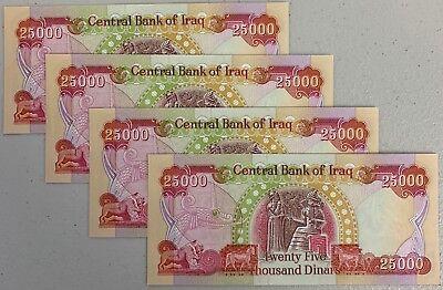 IRAQ MONEY 100,000 NEW CRISP IRAQI DINARS 4 x 25000 UNCIRCULATED IQD CBI