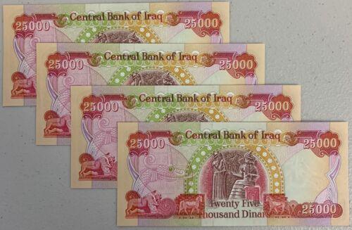 25000 x 4 = 100,000 IRAQI DINAR ACTIVE /& AUTHENTIC IQD NEW /& UNCIRCULATED