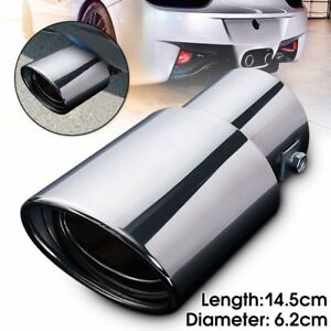 Round-Chrome-Car-Exhaust-Pipe-Rear-Muffler-Tail-Throat-Stainless-Steel