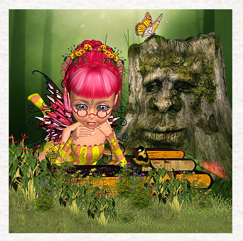 The Fairy Story Teller With Grandpa Stump Fabric Cushion Craft Panel Fairy