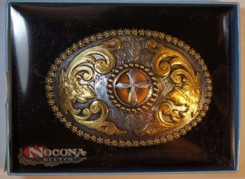 Nocona CROSS  Oval Belt Buckle Gold and Silver Tone M /& F Western  3756645