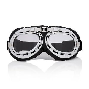 Silver-Clear-Flying-Motorcycle-Scooter-Goggles-Retro-Vintage-Steampunk-Glasses