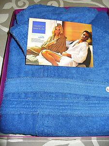 accappatoio BIANCALUNA color con cappuccio spugna in cotone idrofiloTg XL BLU