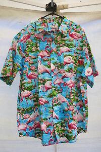 2234e27e Hawaiian Shirt Tiki Flamingo Hot Rod 50s Rockabilly Water Lily Blue ...