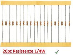 20pz Resistenza 820 Ohm 1//4W 0,25W a strato di carbone 5/%